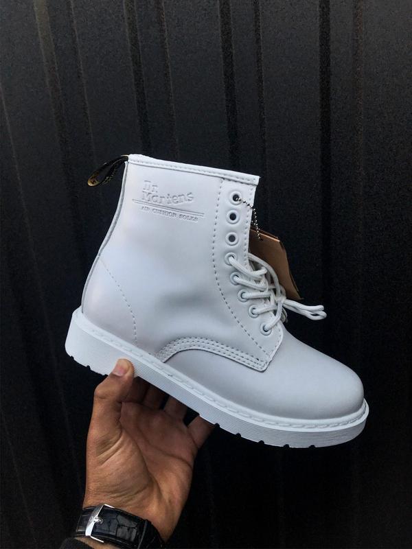 😊dr. martens 1460 mono white fur🤗 женские зимние ботинки марти...