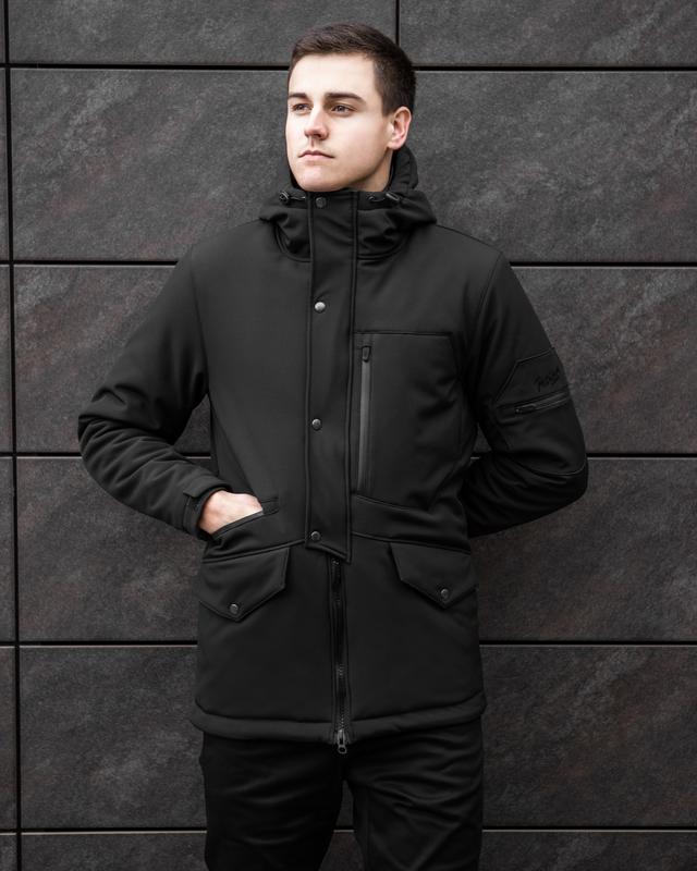 Мужская зимняя куртка чёрных цвета теплая классная🤗