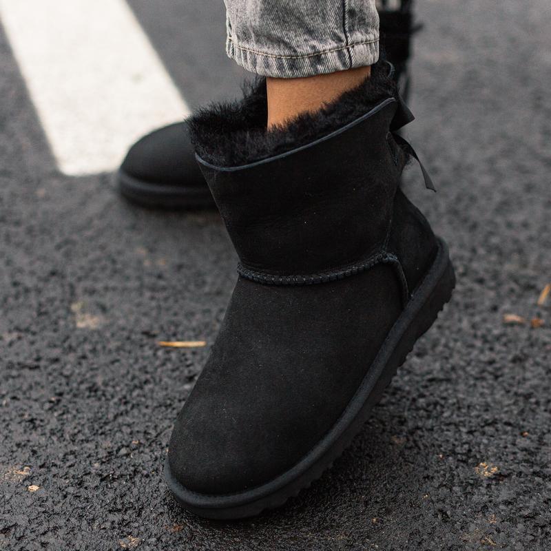 😊ugg bailey bow mini black🤗 женские зимние угги сапоги чёрные ...