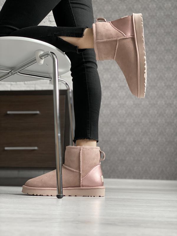 😊ugg classic mini pink🤗 женские зимние сапоги угги теплые нату... - Фото 3