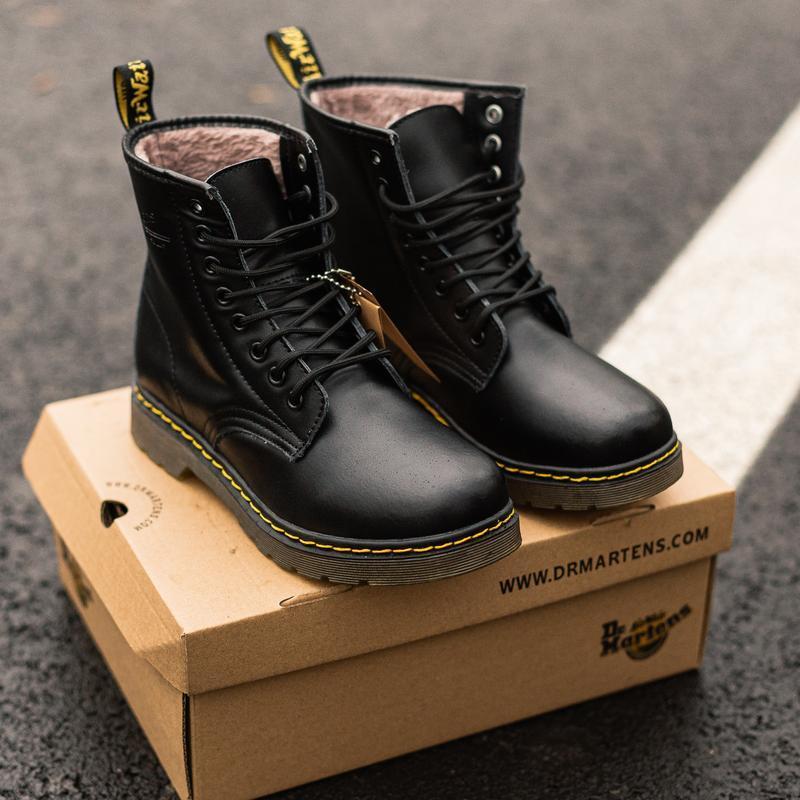 😊dr. martens 1460 black fur🤗 женские зимние ботинки мартинс с ... - Фото 2