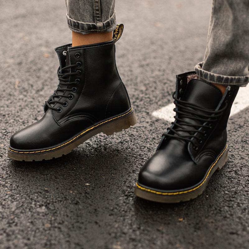 😊dr. martens 1460 black fur🤗 женские зимние ботинки мартинс с ... - Фото 3