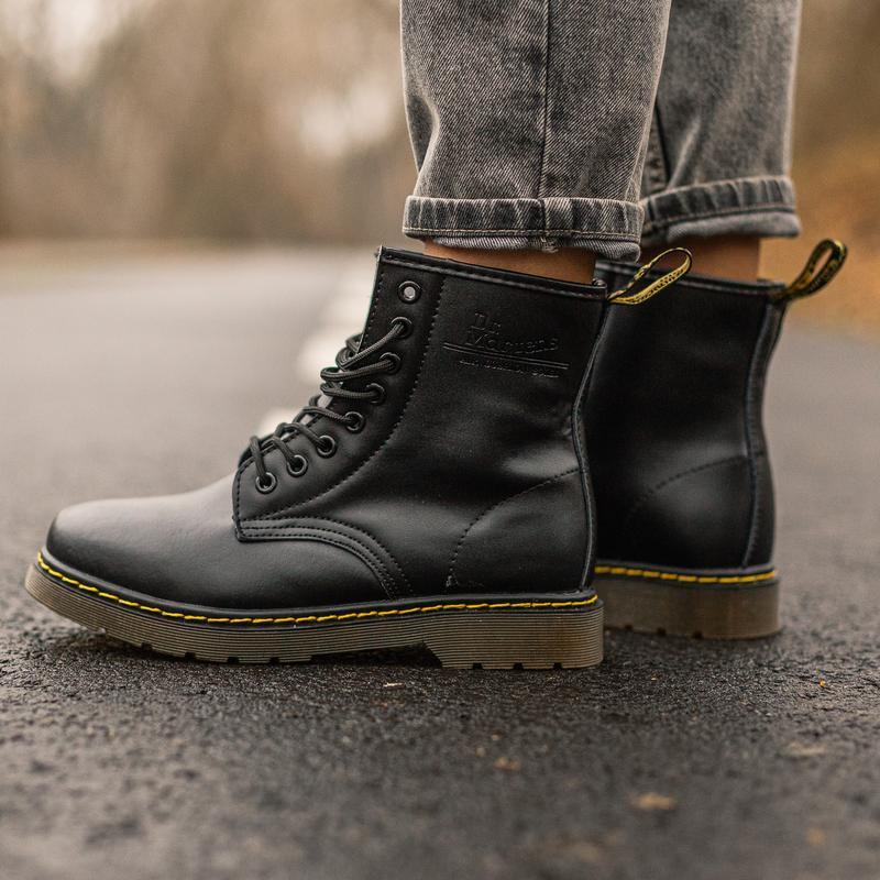 😊dr. martens 1460 black fur🤗 женские зимние ботинки мартинс с ... - Фото 5