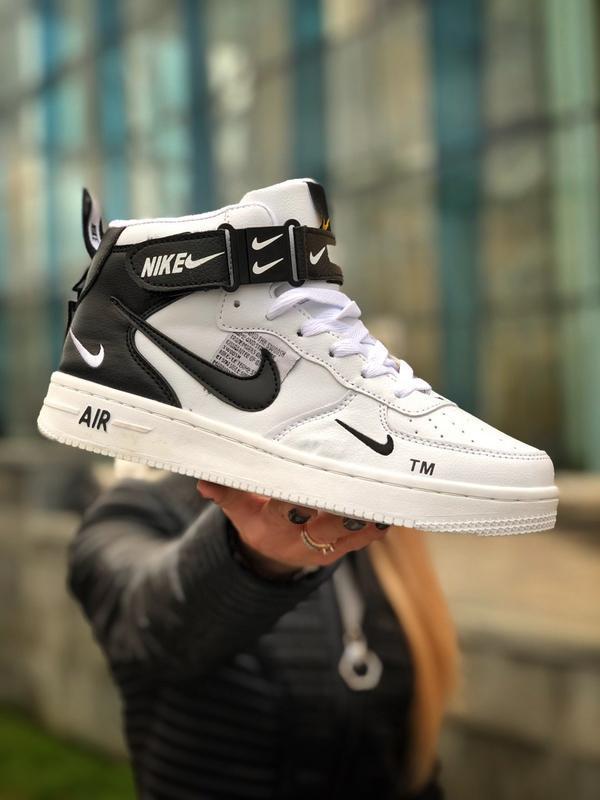 😊nike air force 1 high white fur🤗 женские зимние кроссовки с м...