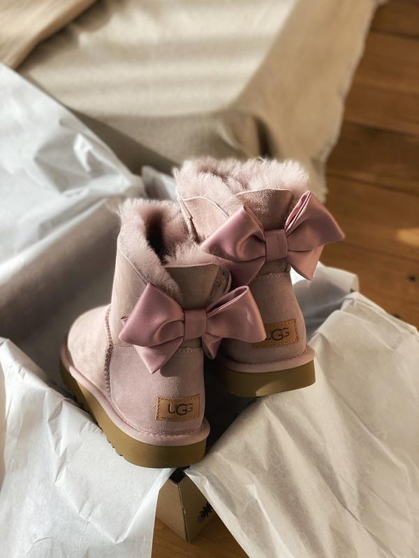 😊ugg bailey bow mini pink🤗 женские зимние сапоги угги теплые н... - Фото 2