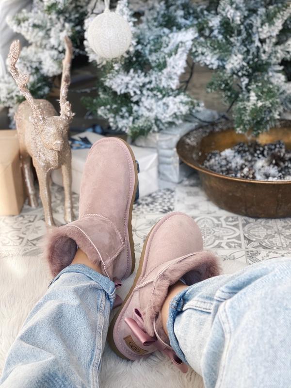 😊ugg bailey bow mini pink🤗 женские зимние сапоги угги теплые н... - Фото 6