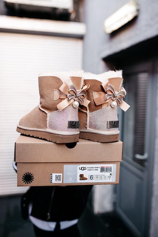 Ugg bailey bow mini beige 🤗 натуральные женские зимние угги са...