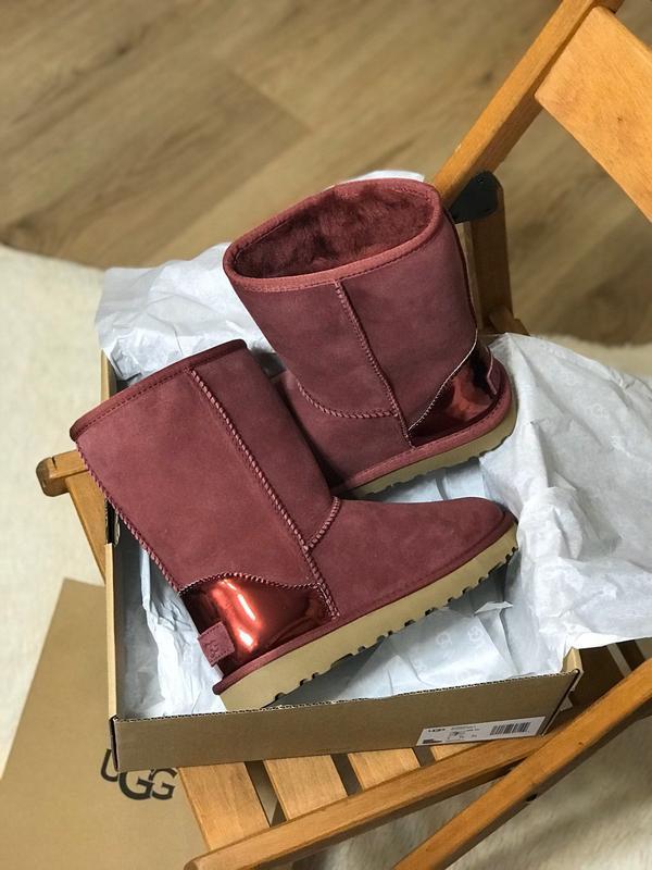 Ugg classic short ii boot metallic bordeaux🤗 натуральные женск...