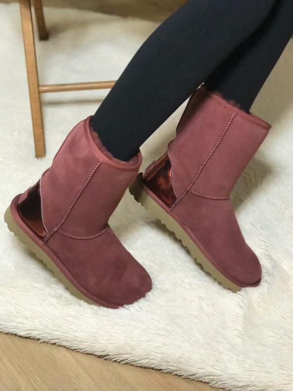 Ugg classic short ii boot metallic bordeaux🤗 натуральные женск... - Фото 10