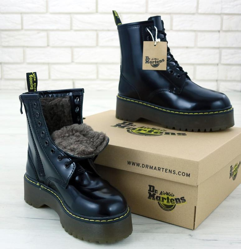 Dr. martens jadon black fur 🤗женские зимние ботинки мартинс на...
