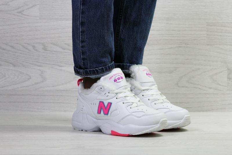 New balance 608 🤗 женские зимние кроссовки с мехом белые зима - Фото 2