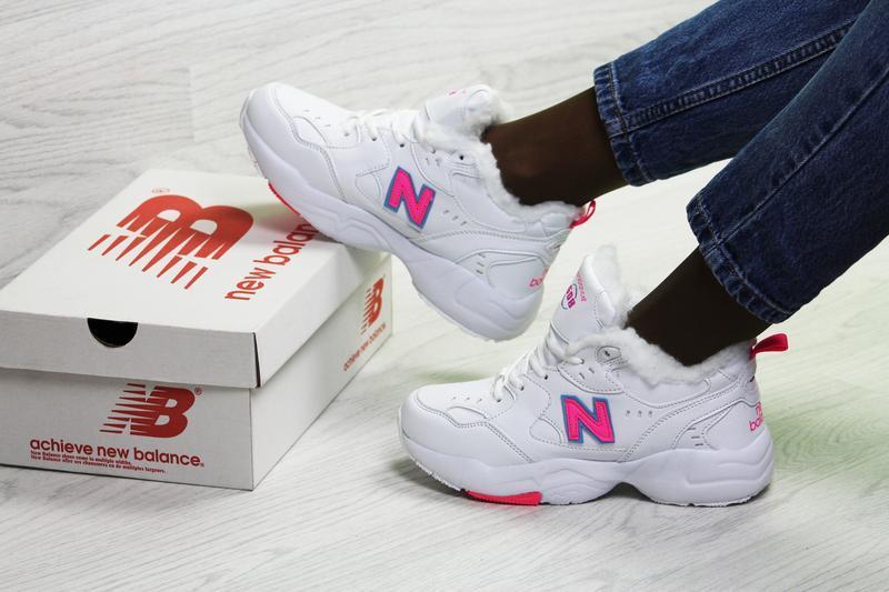New balance 608 🤗 женские зимние кроссовки с мехом белые зима - Фото 3