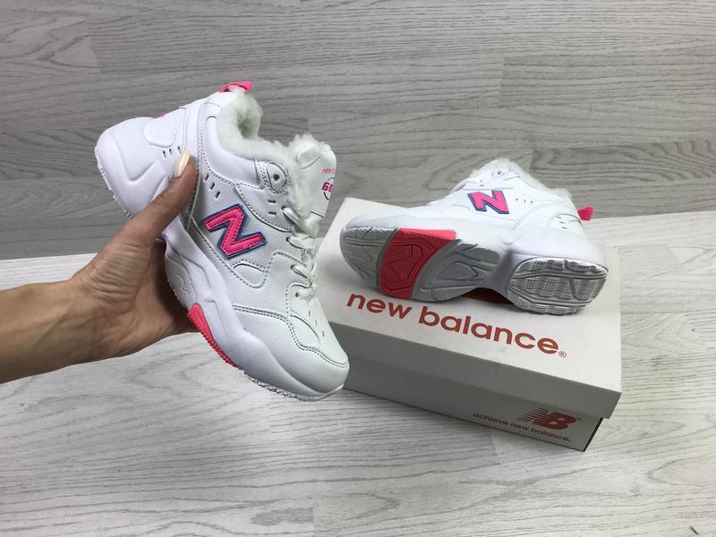 New balance 608 🤗 женские зимние кроссовки с мехом белые зима - Фото 4