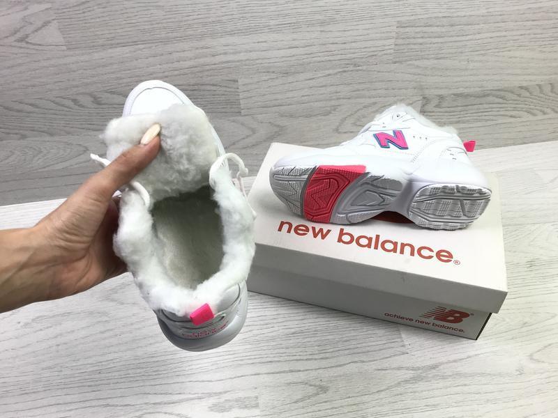 New balance 608 🤗 женские зимние кроссовки с мехом белые зима - Фото 5