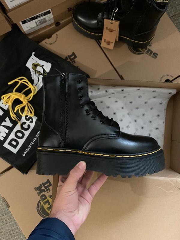 Dr. martens jadon black fur 🤗 женские зимние ботинки мартинс с...