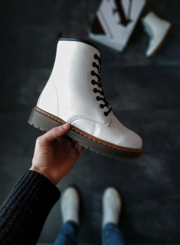 Женские демисезонные ботинки белые 🤗 (под dr. martnens) без бренд