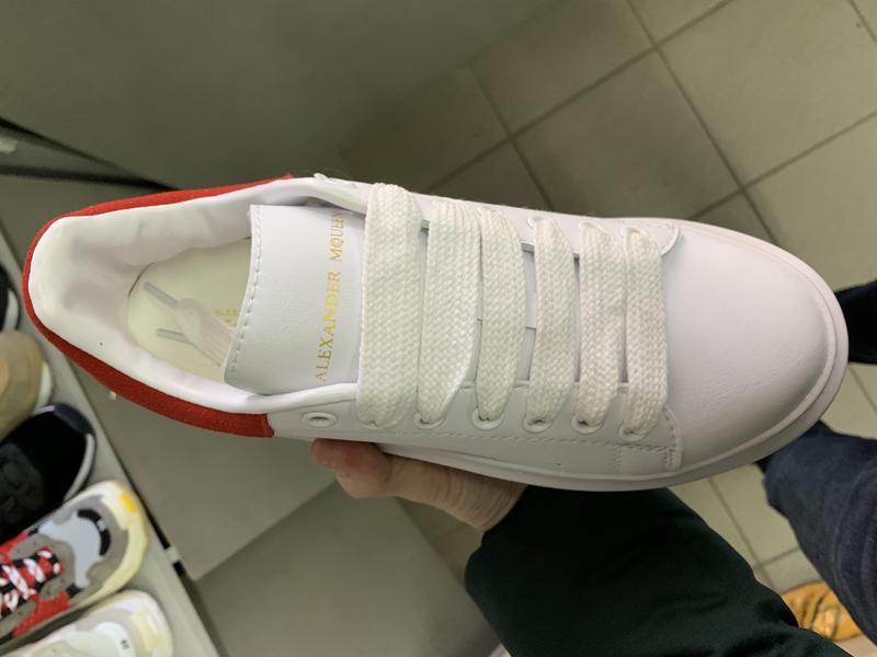 Шикарные женские кроссовки alexander mcqueen white red - Фото 3