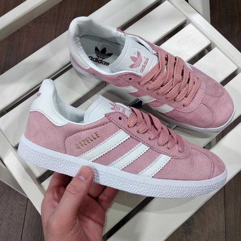 Шикарные женские кроссовки adidas gazelle pink - Фото 2