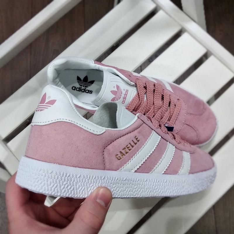 Шикарные женские кроссовки adidas gazelle pink - Фото 3