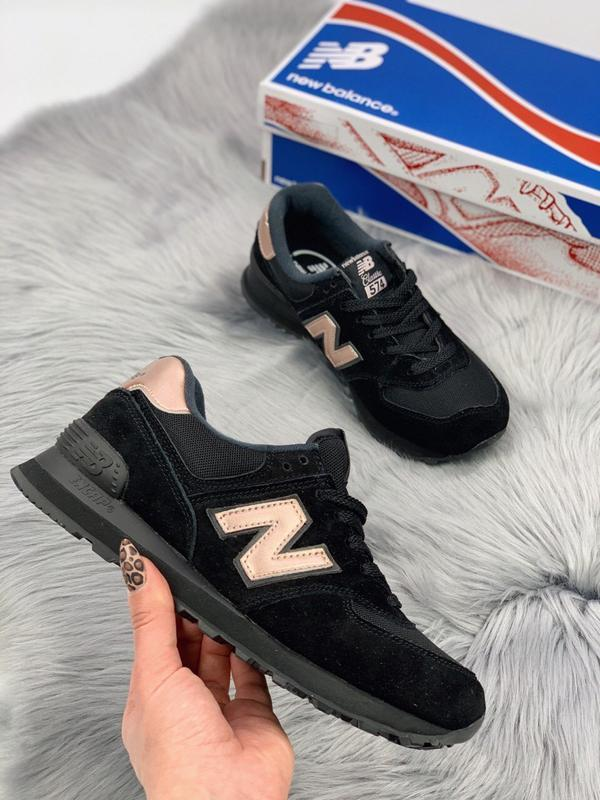 Шикарные женские кроссовки new balance 574 black gold