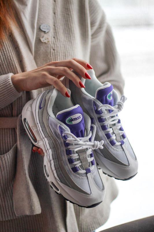 Шикарные женские кроссовки nike air max 95 white/purple - Фото 2