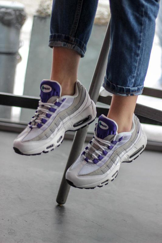 Шикарные женские кроссовки nike air max 95 white/purple - Фото 3