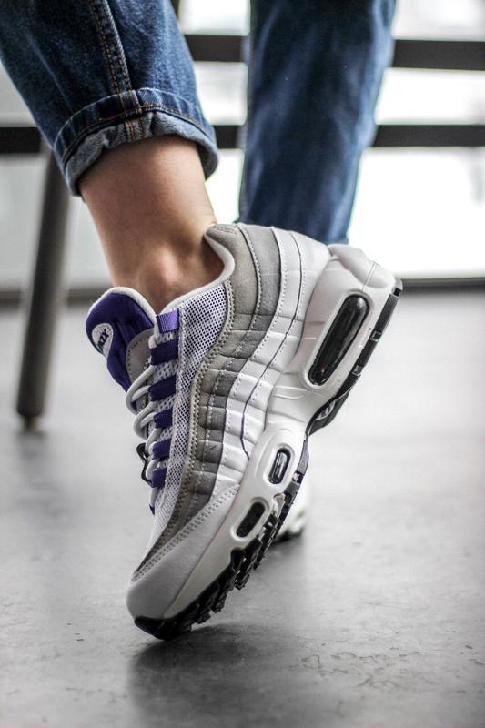 Шикарные женские кроссовки nike air max 95 white/purple - Фото 4