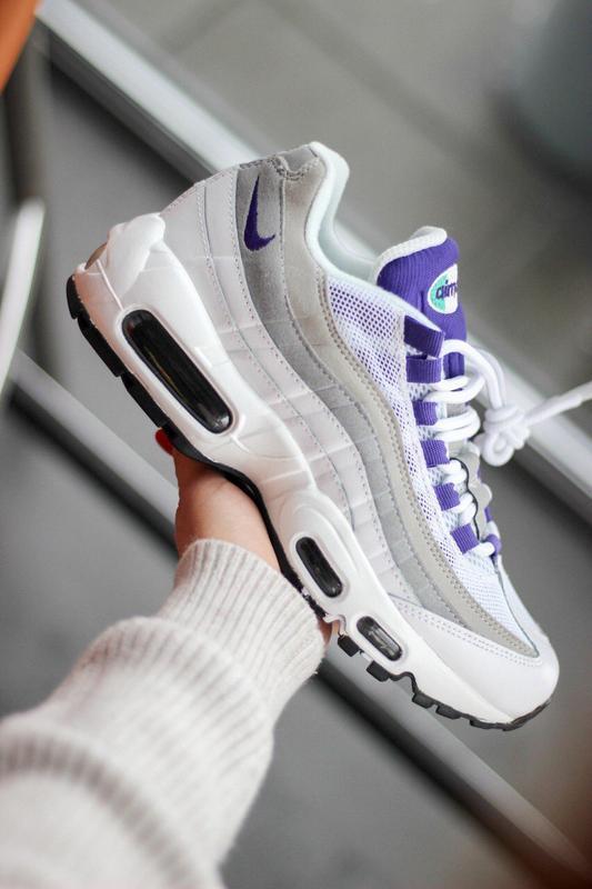 Шикарные женские кроссовки nike air max 95 white/purple - Фото 7