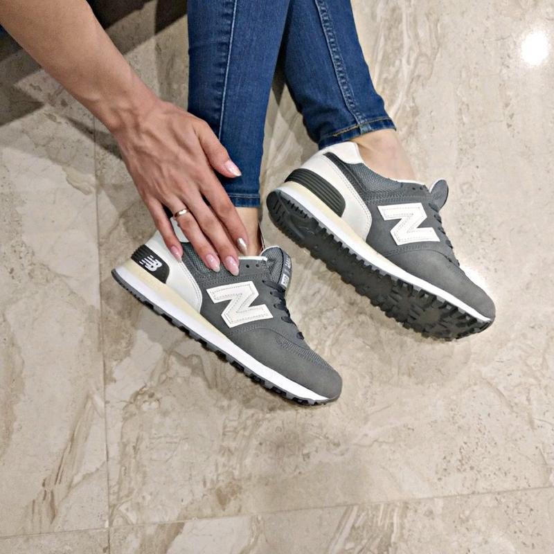 Шикарные женские кроссовки new balance 574 grey - Фото 2