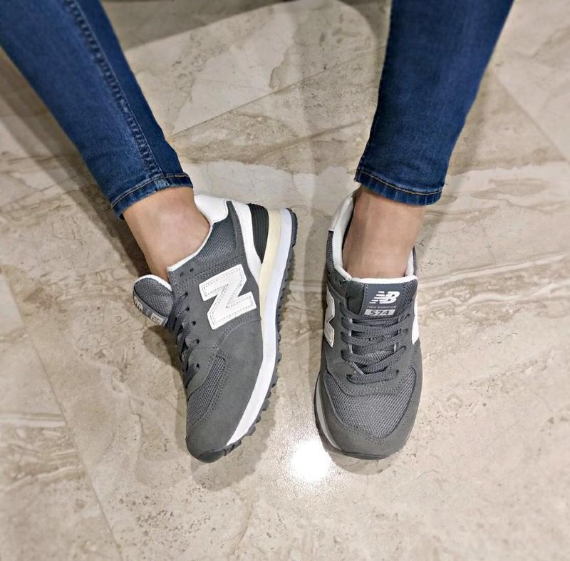 Шикарные женские кроссовки new balance 574 grey - Фото 5