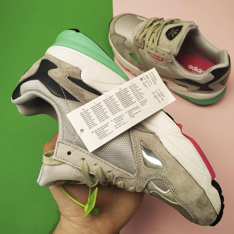 Шикарные женские кроссовки adidas falcon grey/green - Фото 2
