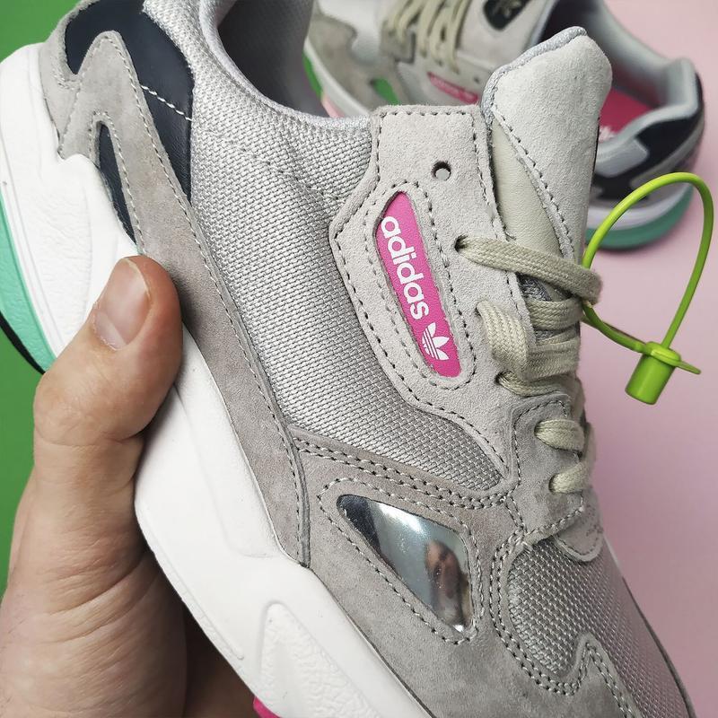 Шикарные женские кроссовки adidas falcon grey/green - Фото 5
