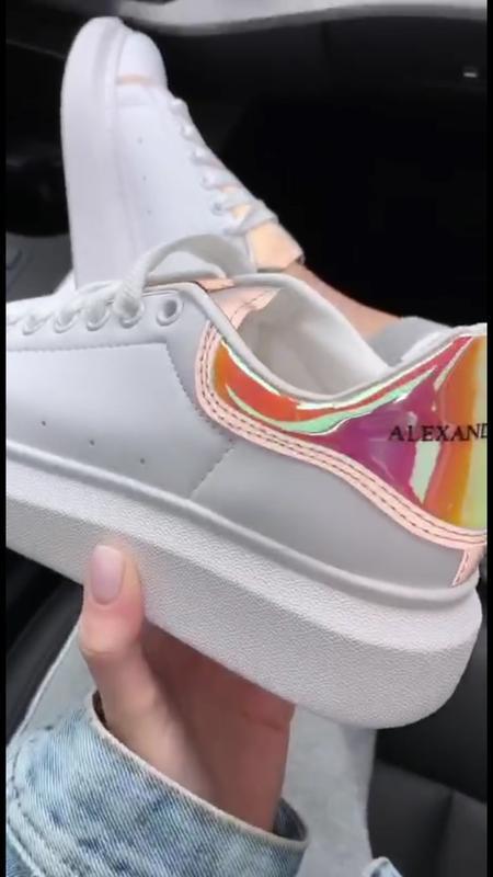 Шикарные женские кроссовки alexander mcqueen reflected orange