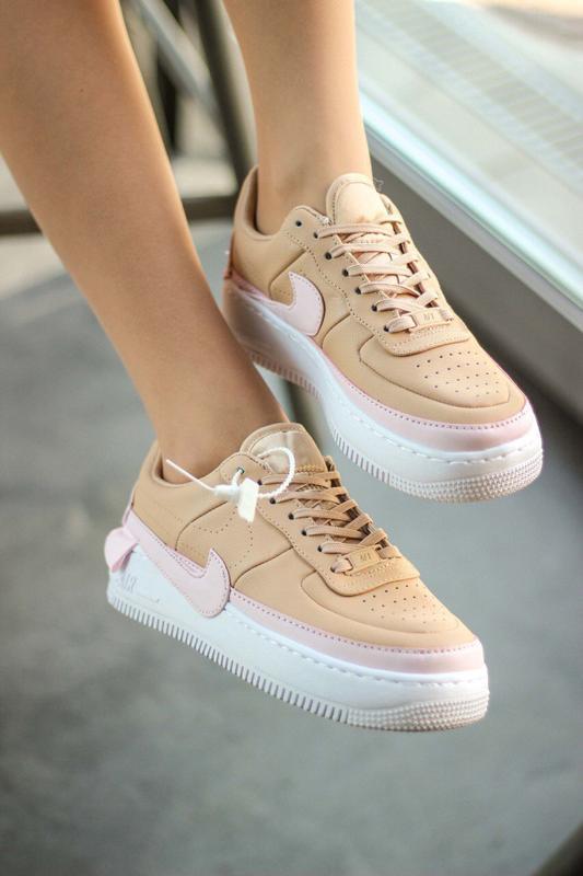 Шикарные женские кроссовки nike air force jester beige/pink