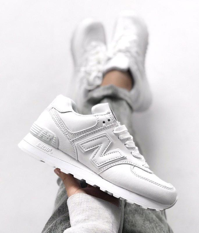 Шикарные женские кроссовки new balance 574 white