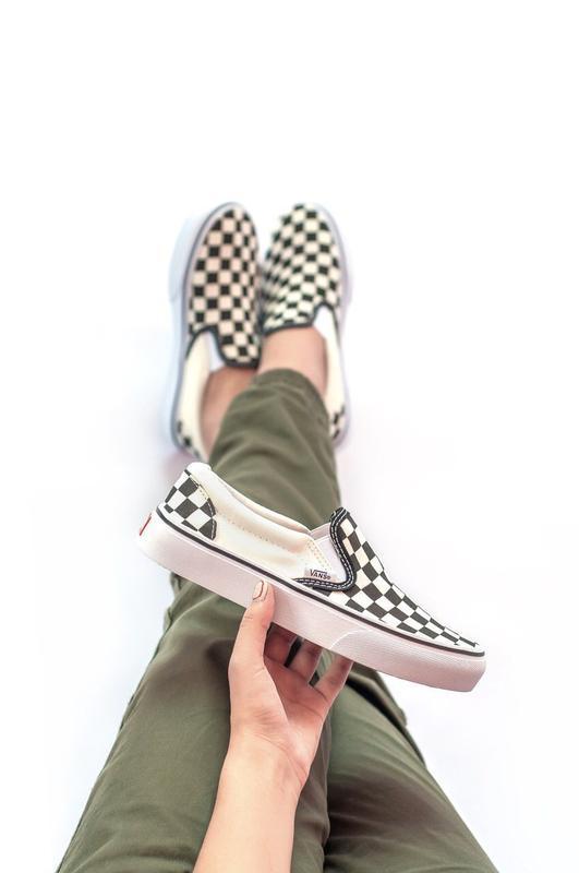 Шикарные женские мокасины  vans slip on checkerboard