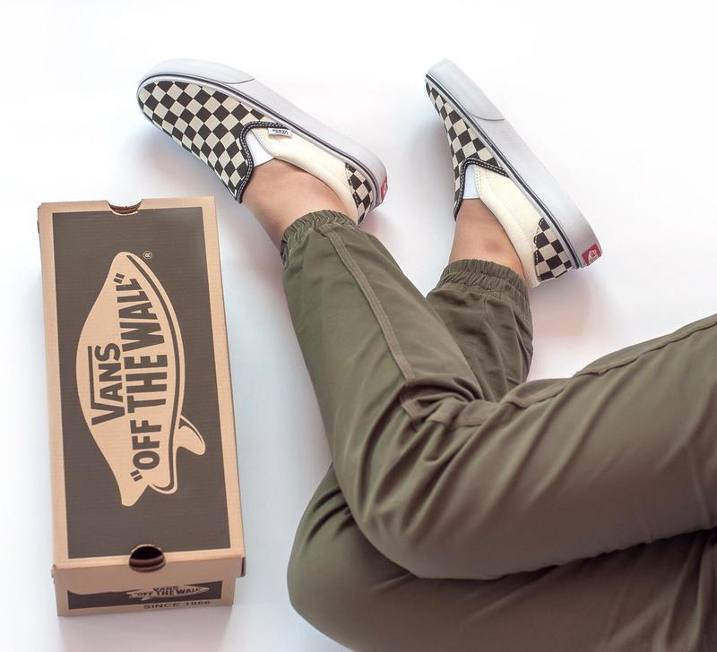 Шикарные женские мокасины  vans slip on checkerboard - Фото 6