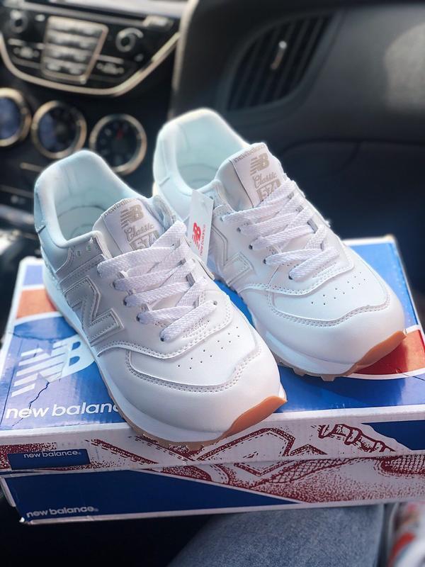 Шикарные женские кроссовки new balance 574 white - Фото 3