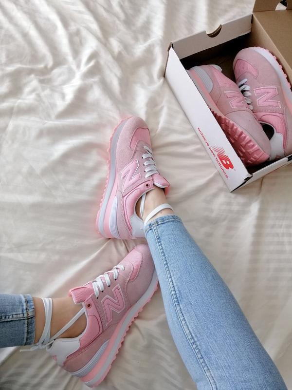 Шикарные женские кроссовки new balance 574 pink - Фото 2