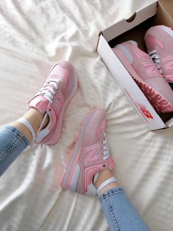 Шикарные женские кроссовки new balance 574 pink - Фото 3