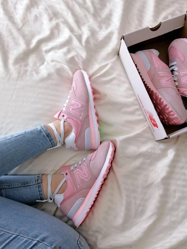 Шикарные женские кроссовки new balance 574 pink - Фото 4
