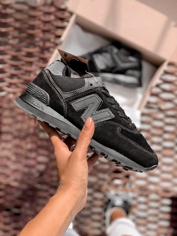 Шикарные женские кроссовки new balance 574 black