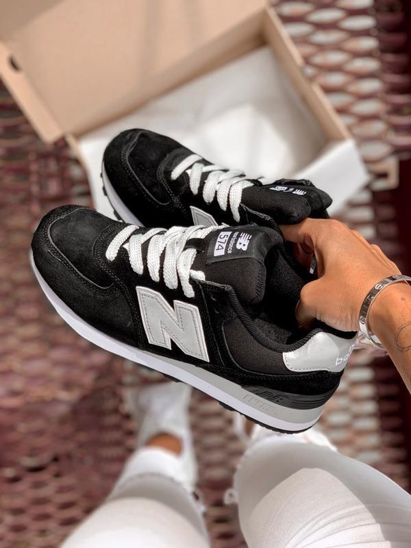 Шикарные женские кроссовки new balance 574 black/silver