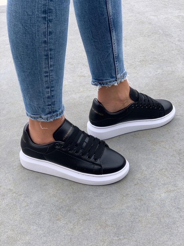 Шикарные женские кроссовки  alexander mcqueen black - Фото 3