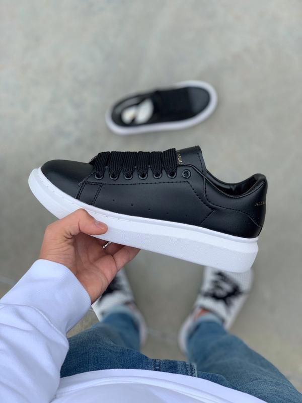 Шикарные женские кроссовки  alexander mcqueen black - Фото 6
