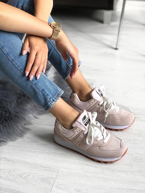 Шикарные женские кроссовки new balance 574 pink - Фото 5