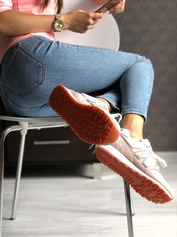 Шикарные женские кроссовки new balance 574 pink - Фото 6