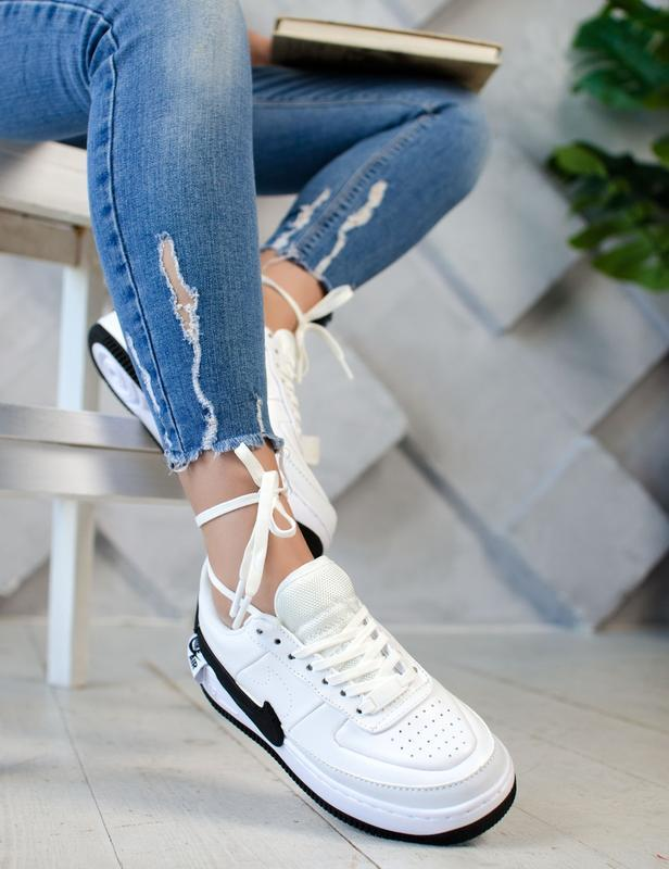 Шикарные женские кроссовки nike air force jester white/black - Фото 2