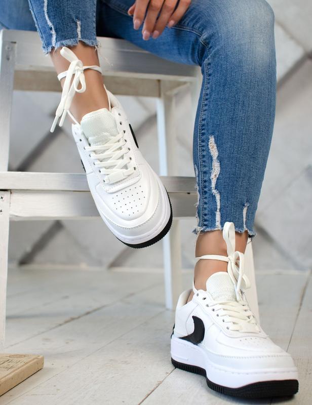 Шикарные женские кроссовки nike air force jester white/black - Фото 3