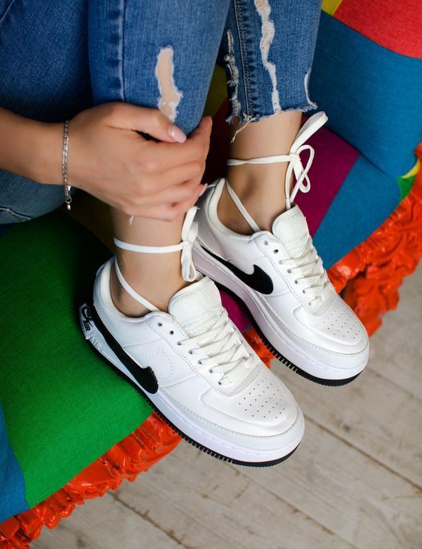 Шикарные женские кроссовки nike air force jester white/black - Фото 4